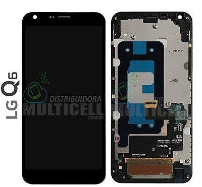 GABINETE FRONTAL DISPLAY LCD TELA TOUCH SCRENN MODULO COMPLETO LG M700 LG Q6 MINI PRETO ORIGINAL