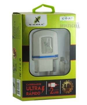 CARREGADOR TURBO ULTRA RAPIDO CASA PAREDE X-CELL 4.0A COM ENTRADA USB EXTRA (ENTRADA V8 MICRO USB)