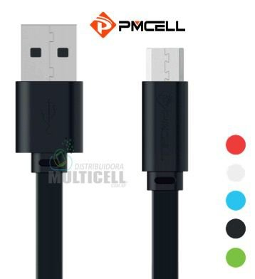 CABO USB FLAT PMCELL SOLID-988 988 ENTRADA MICRO USB V8 1MT CORES VARIADAS
