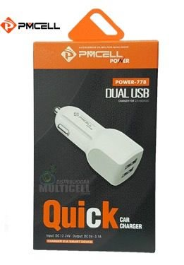 FONTE ADAPTADOR CARREGADOR USB VEICULAR TURBO 2.4A PMCELL POWER-778 BRANCA
