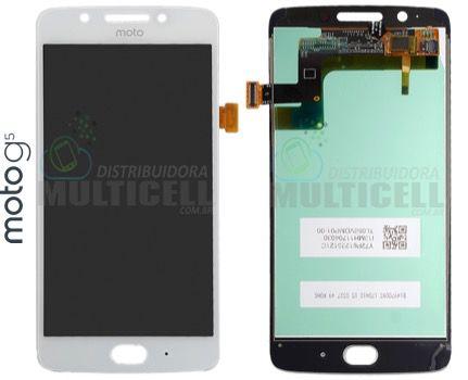 GABINETE FRONTAL MODULO COMPLETO DISPLAY LCD TOUCH SCREEN MOTOROLA XT1671 XT1672 XT1676 MOTO G5 BRANCO QUALIDADE AAA