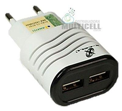 FONTE USB 5V 2.1A COM DUAS ENTRADAS X-CELL BRANCA ORIGINAL