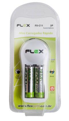 CARREGADOR DE PILHAS E BATERIAS RECARREGÁVEIS FLEX GOLG FX-C11 COM 2 PILHAS