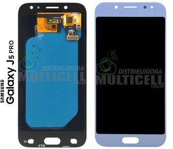GABINETE FRONTAL DISPLAY LCD TELA TOUCH SCRENN MODULO COMPLETO SAMSUNG J530 J530F GALAXY J5 PRO AZUL 1ª LINHA (COM BRILHO AJUSTÁVEL)