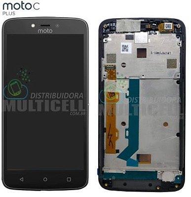 GABINETE FRONTAL LCD DISPLAY TOUCH SCREEN MODULO COMPLETO MOTOROLA XT1726 MOTO C PLUS PRETO COM ARO ORIGINAL
