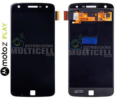 GABINETE FRONTAL MODULO COMPLETO LCD DISPLAY TOUCH SCREEN MOTOROLA XT1635 MOTO Z PLAY PRETO (ORIGINAL NACIONAL)