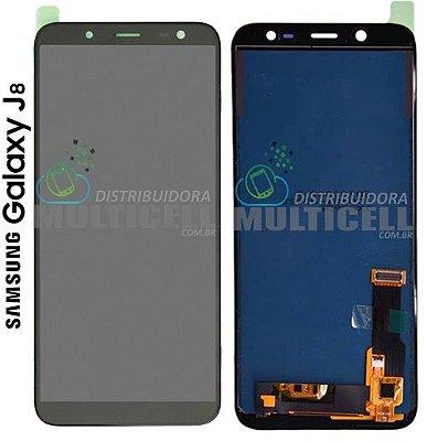 GABINETE FRONTAL LCD TOUCH SCREEN MODULO COMPLETO SAMSUNG J810 GALAXY J8 PRETO 1ª LINHA (COM BRILHO AJUSTAVEL)