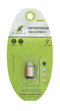 ADAPTADOR MICRO USB V8 PARA IPHONE LIGHTNING X-CELL XC-ADP-02