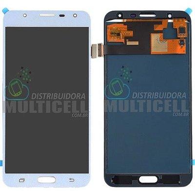 GABINETE FRONTAL LCD DISPLAY MODULO COMPLETO SAMSUNG J701 GALAXY J7 NEO BRANCO 1ªLINHA (COM BRILHO AJUSTÁVEL)