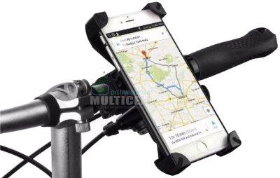 SUPORTE UNIVERSAL DE CELULAR E GPS PARA BICICLETA COM ROTAÇÃO 360°