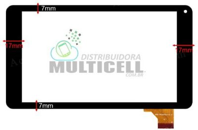 "TELA TOUCH SCREEN TABLET M7S NOVO 7"" COM LATERAIS 7mm x 17mm"