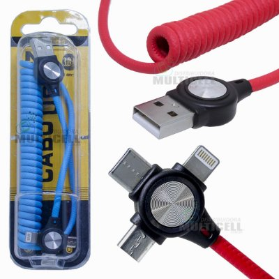 CABO USB TRIPLO EM ESPIRAL MAX-32 MICRO USB V8 TIPO C IPHONE (CORES VARIADAS)