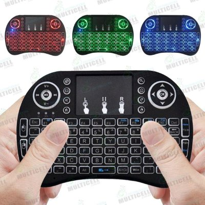 MINI TECLACO KEYBOARD BLUETOOTH WIFI WIRELESS SEM FIO COM TOUCHPAD TV BOX I8 LED