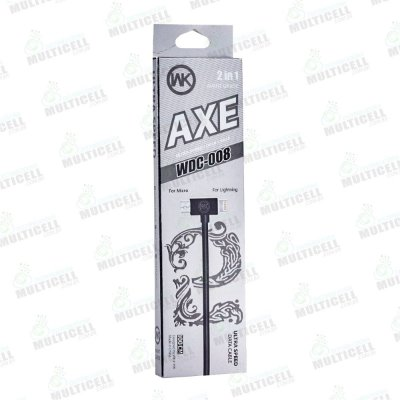 CABO MICRO USB / LIGHTINING AXE WDC-008 2 EM 1 APPLE E V8 PRETO