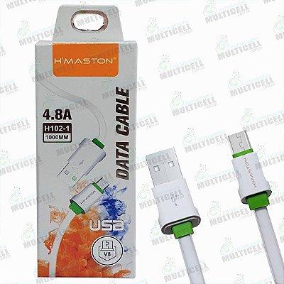 CABO USB H'MASTON 4.8A MODELO MICRO USB V8  H102-1 ORIGINAL