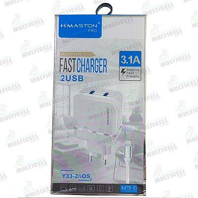 CARREGADOR USB H'MASTON TURBO 3.1A Y33-2/IOS MODELO LIGHTNING IPHONE