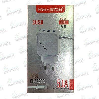 CARREGADOR USB H'MASTON TURBO 5.1A Y07 MODELO MICRO USB V8