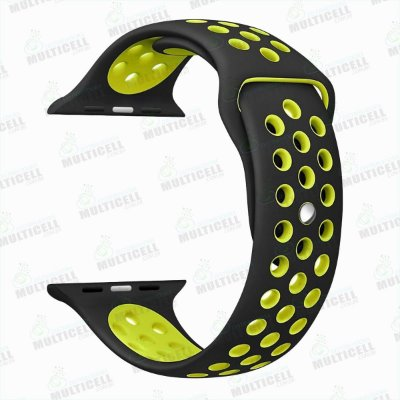 PULSEIRA DE BORRACHA APLLE WATCH NIKE SPORT PRETO / VERDE 42mm 44mm
