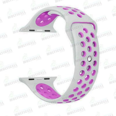 PULSEIRA DE BORRACHA APLLE WATCH NIKE SPORT BRANCA / ROSA 42mm 44mm