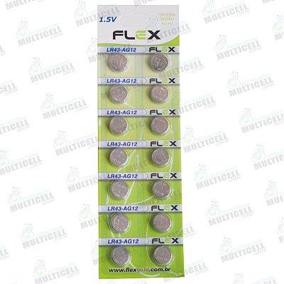 PILHA BATERIA BOTÃO FX-LR43 AG12 FLEX GOLD 1.5V