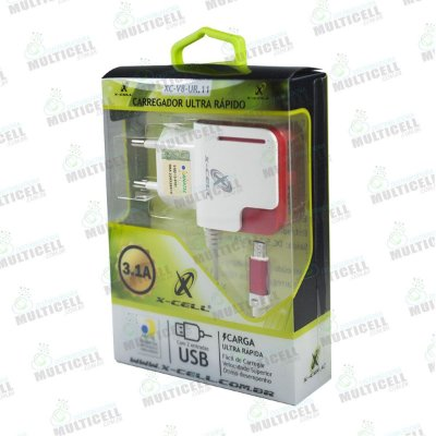 CARREGADOR MICRO USB V8 ULTRA RÁPIDO 3.1A X-CELL XC-V8-UR