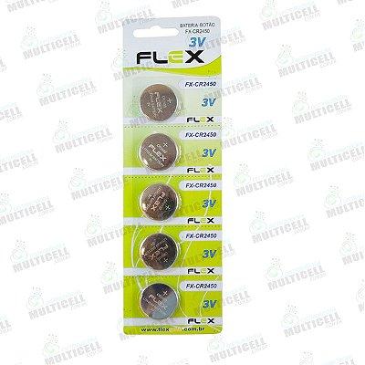 BATERIA CELULA BOTÃO MOEDA FLEX GOLD CR2450 2450 3V CARTELA C/ 5 UNIDADES
