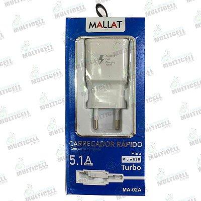 CARREGADOR RAPIDO 5.1A MALLAT MICRO USB V8