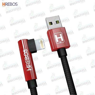 CABO USB TECIDO PLUG LATERAL 3.1A 1.2M TURBO HREBOS HS-11 LIGHTNING IPHONE