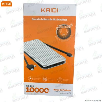 CARREGADOR PORTÁTIL POWER BANK KAIDI KD-235 1000 mAh ORIGINAL