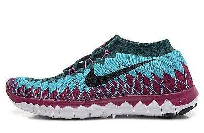 Tênis Nike FREE 3.0 Flyknit - Feminino - Roxo/Azul