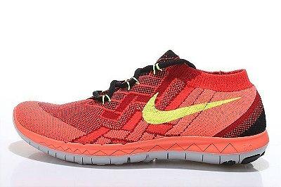 Tênis Nike FREE 3.0. Flyknit - Masculino - Laranja/Vermelho
