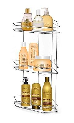 Porta shampoo Cantoneira Tripla para Banheiro Cromado