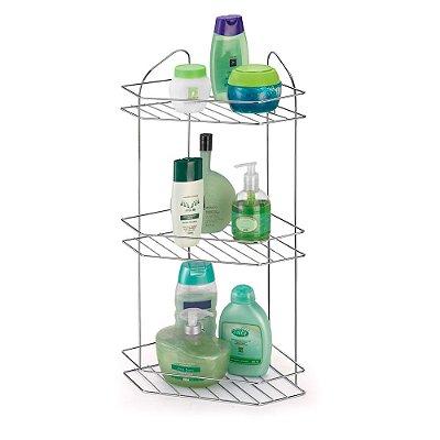 Porta Shampoo Cantoneira Tripla cromada - Arthi