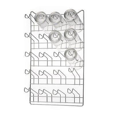 Porta Copos de Parede 12 copos Cromado - Arthi
