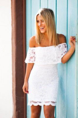 Vestido curto renda branco