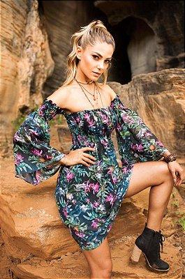 vestido curto estampado toque de seda lastex