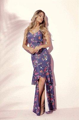 vestido longo com fenda malha premium marinho