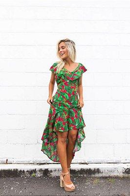 vestido longo estampado viscose vermelho verde