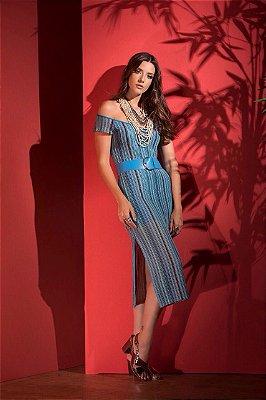 Vestido midi listrado azul com cinto