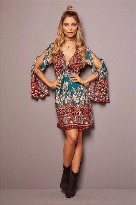 Vestido feminino curto manga flare estampa