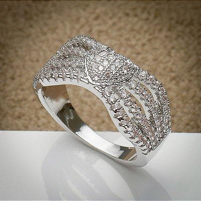 Anel ródio branco cristais
