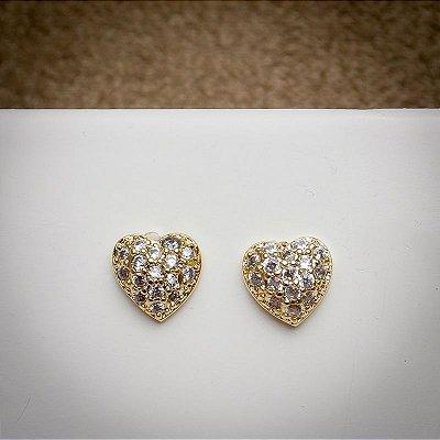 Brincos dourados cristais
