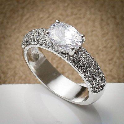 Anel solitário ródio branco cristais