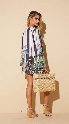 Kimono toque de seda folhas e listras