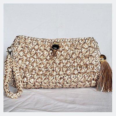 Bolsa clutch de luxo de crochet dourada