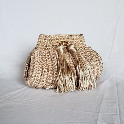 Bolsa clutch de luxo fascination crochet dourada bege