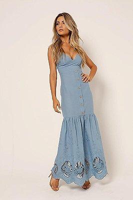 Vestido longo Laise azul