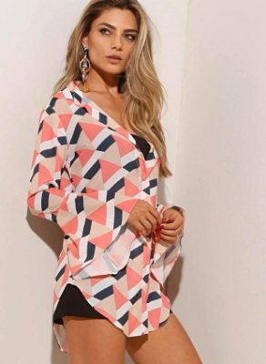Camisa maxi sedinha geométrica