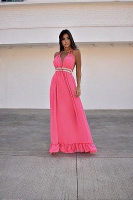 Vestido longo crepe premium pink