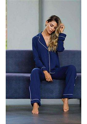 Pijama blusa e calça marinho